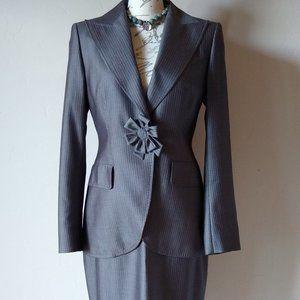 NWT ESCADA Wool Silk 2pc Suit&Skirt Set Gray Sz.38